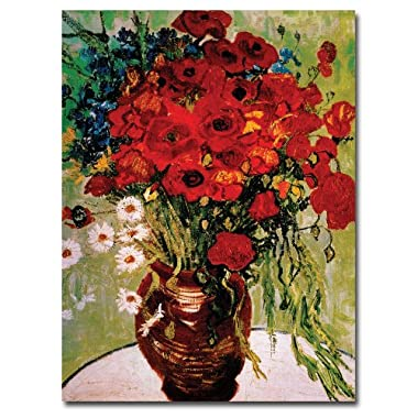 Trademark Fine Art Daisies and Poppies by Vincent van Gogh, 18x24-Inch Canvas Wall Art
