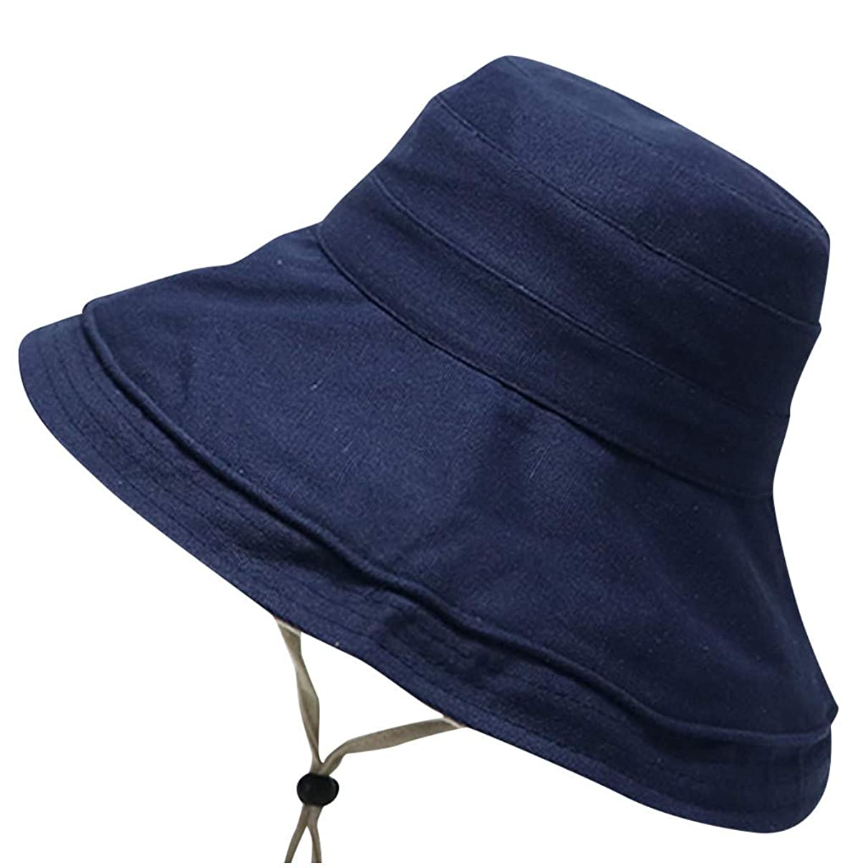 Women's Sun Hat Teens Girls Bucket Hat Floppy Hat UPF 50+ Wide Brim Adjustable Strap Outdoor Beach Boonie Play Cap Amiley