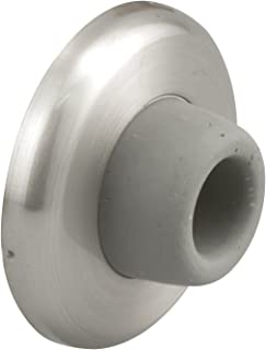 """Prime-Line J 4540 Wall Stop – Protects Walls from Door Knob Damage – 2-1/2"""" Outside Diameter Stainless Steel Cover with 1-1/8"""" Gray Round Rubber Bumper – Easy To Install"""