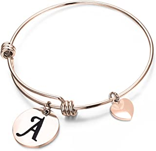 MAOFAED Initial Bracelet,Rose Gold Letter Bracelet, Personalized Jewelry, Hand Stamped Jewelry