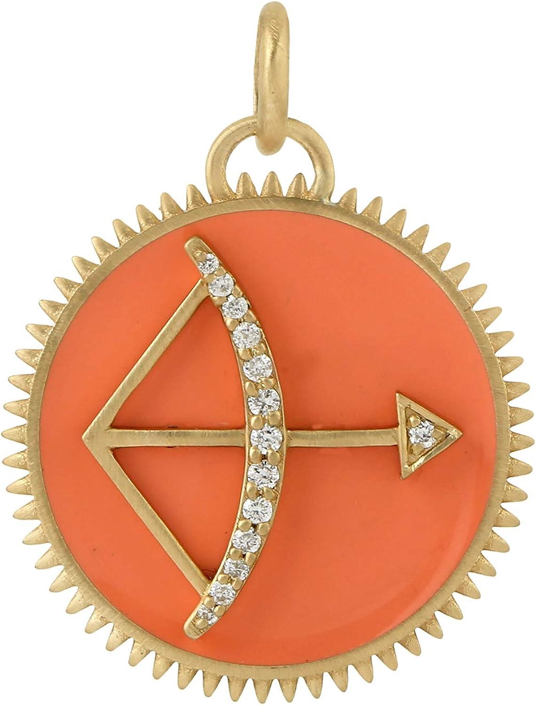 Natural Diamond Rainbow Charm Reservation Pendant 5 popular Fine Yellow Gold 18k Jewel