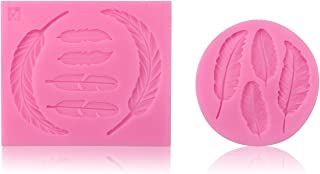 Feather Silicone Mold, Beasea 2pcs Feather Fondant Candy Molds DIY Cake Decorating Tool Bakeware Set Polymer Clay Mould Pink
