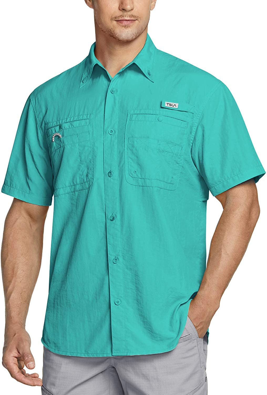 TSLA Men's Performance Fishing Shirt, UPF 50+ Breathable Button Down Shirts, Outdoor Recreation Short Sleeve Shirt