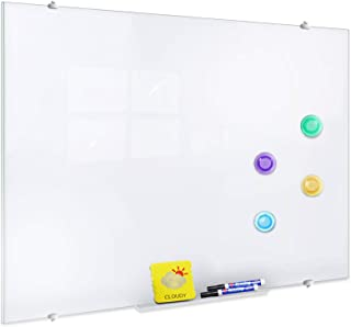 ZHIDIAN Glass Dry Erase Board, Magnetic Tempered Glass Whiteboard, 4 x 3 Feet, 4 Markers 2 Erasers 4 Magnets, Bright White and Frameless for Wall