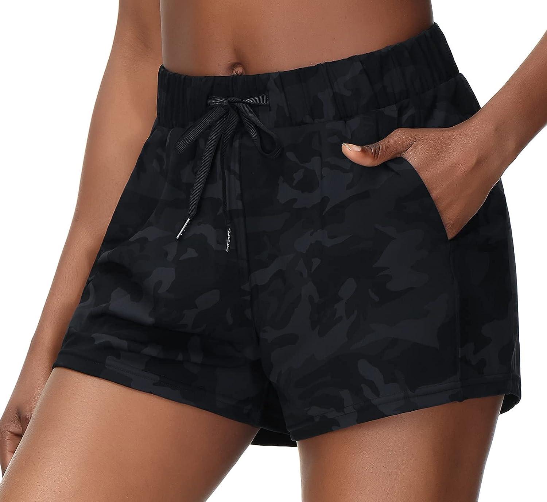 Wjustforu Women's Yoga Lounge Shorts Athletic Running Drawstring Shorts with Pockets Casual Shorts for Hiking