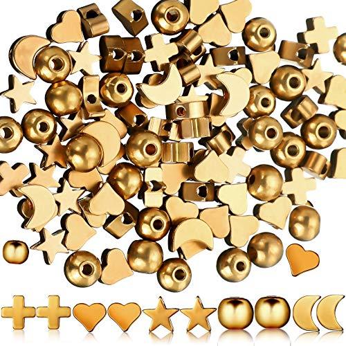 150 Perline Distanziali Assortite Perline d'Oro Forma Cuore Perline Forma Stella in Metallo Perline Forma Croce Perline Forma Luna e Perline Rotonde Perline Gioielli per Natale Valentine, 5 Forme