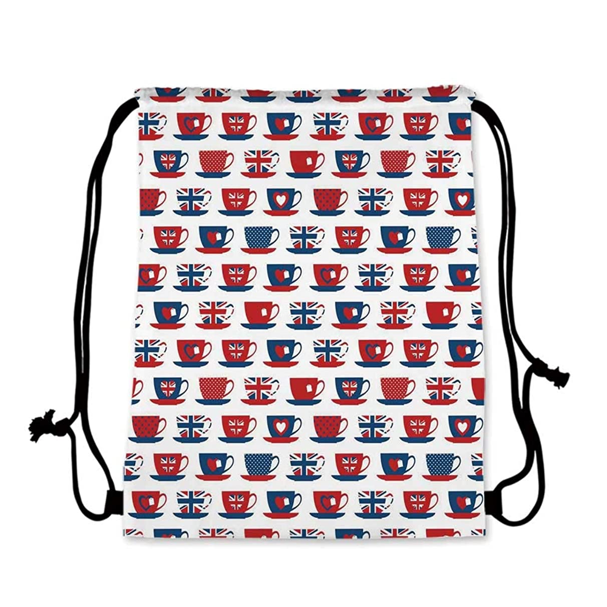 Tea Party Practical Drawstring Bag,Great Britain Themed Teacup Forms Patterned Union Jack Hearts Flags Decorative for Women,17.7''L x 36''W
