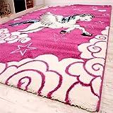 Kinderzimmer Teppich für Kinder Das Kleine Einhorn Pink Creme Türkis, Grösse:80x150 cm - 2