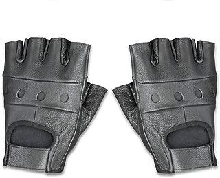 Raider Leather Fingerless Men's Motorcycle Premium Driving Gloves (Black, Large)