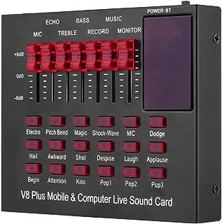 Muslady Tarjeta de Sonido Multifuncional Recargable, Móvil y en Vivo para Computadora Interfaz de Audio USB con Múltiples Efectos de Sonido BT Connection