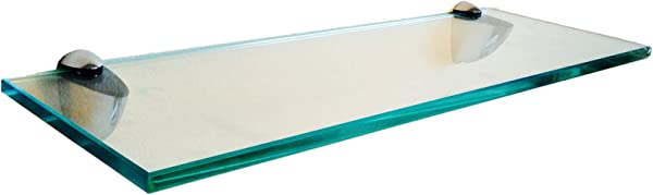 Fab Glass And Mirror S 8x48RECCHBR 8 X 48 Inch Rectangle Floating Clear Tempered Kit Glass Shelf 8 X 48
