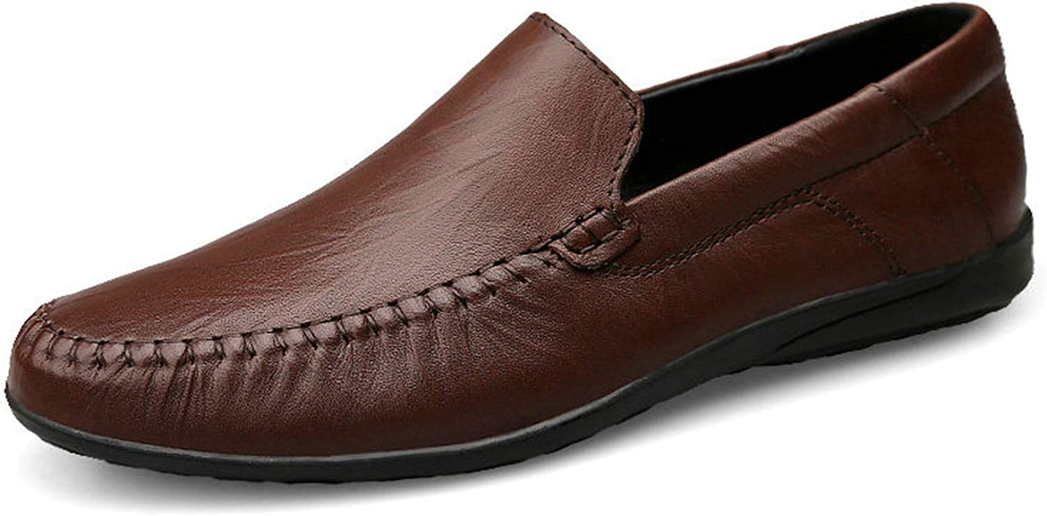 Small oranges New Genuine Leather Men shoes Men's Flats Men Fashion Casual shoes Big Size 3747,Dark Brown,9.5