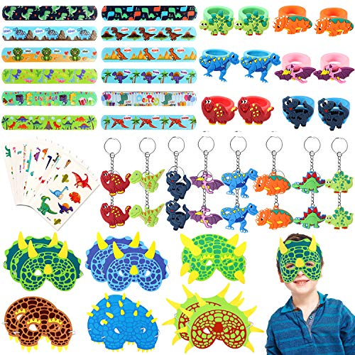 64 Pcs Dinosaur Party Favor Dinosaur Slap Bracelets Masks Keychains Rings Temporary Tattoos for Boys Kids Dinosaur Themed Birthday Party Supplies Treat Dino Pinata Goodie Bag Fillers