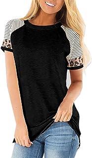 CNFIO Maglietta Rotondo Maniche Lunghe/Corta Maglieria Basic Shirt Eleganti Lady Camicetta Stampa Leopardo Top Casual Magl...