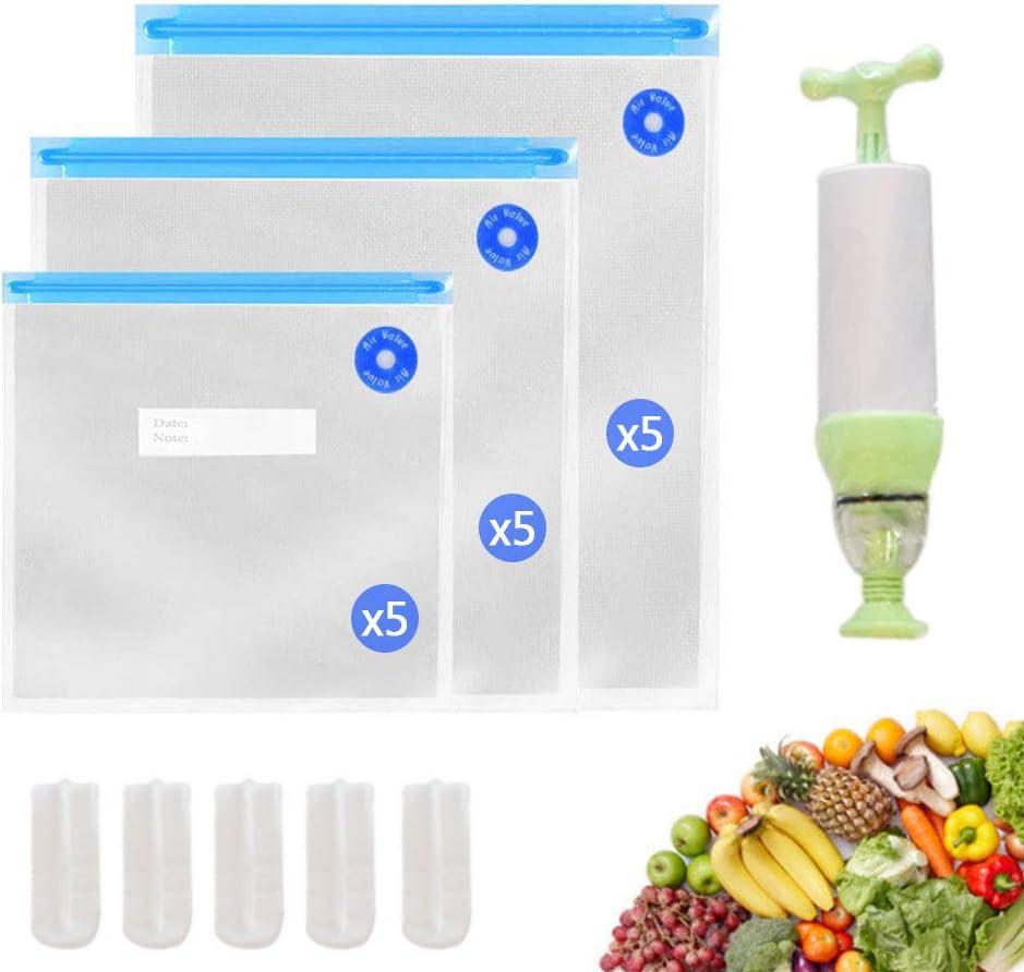 Usmoscat Bolsas Envasar al Vacio, 15 Bolsas Reusables de Sellador al Vacío de Alimentos con una Bomba de Mano, para Ayudar al Almacenamiento y Frescura de los Alimentos, Sin BPA (15 Bolsas)