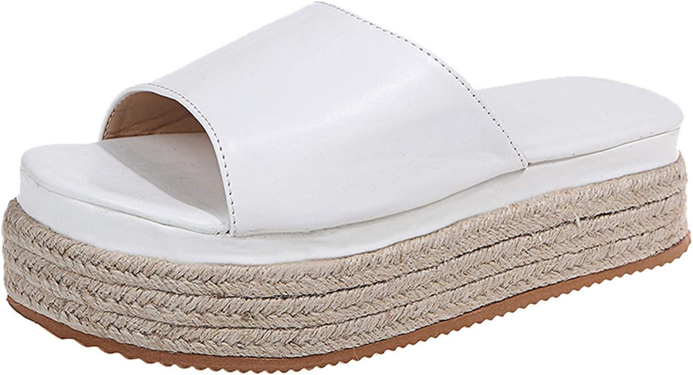 PNJAdd8s4 Women Wedges Platform Slipper Woven Flat-Bottomed Open Toe Breathable Sandals Women's Shoes Non-Slip Flip Flop Shoes