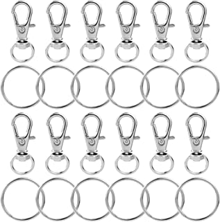 100 pcs Metal Swivel Lanyards Snap Hooks, cnomg Lobster Clasps Keychain Rings with Key Rings for Jewelry Findings