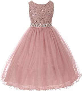 Sleeveless Sparkling Rhinestone Waistline Tea Length Girls Dress