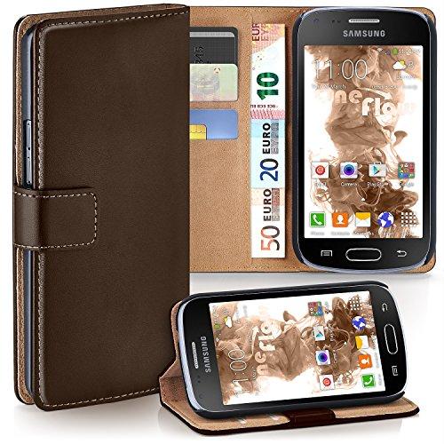 Cover OneFlow per Samsung Galaxy Trend / Trend Plus Custodia con scomparti documenti | Flip Case Astuccio Cover per cellulare apribile | Custodia cellulare Cover rotettiva Accessori Cellulare protezione Paraurti OXIDE-BROWN Galaxy Trend / Trend Plus