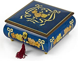 Handcrafted Radiant Blue W. Roses and Ribbons Musical Jewelry Box Limited Sale, Few Left - Over 400 Song Choices - Chestnuts Roasting On an Open Fire