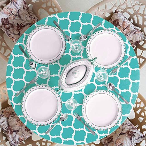 """Home One Round Vinyl Tablecloth with Elastic Edge and Flannel Backing - Waterproof Plastic Fitted Table Cover for Outdoor, Patio, Kitchen and Dining Room - Arabic Mosaic - (Large 45""""-56"""", Emerald)"""