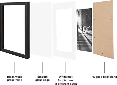 SONGMICS Picture Frames Set of 7 Pieces, One 11 x 14 Inches, Two 8 x 10 Inches, Four 6 x 8 Inches, with White Mat Real Glass,