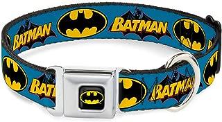 Buckle-Down Seatbelt Buckle Dog Collar - Vintage Batman Logo & Bat Signal Blue