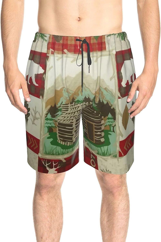 JINJUELS Men's Swim Trunks Deer Bear Wooden House Swim Short Boardshort Fast Dry Fashion Swimwear Beach Shorts with Lining