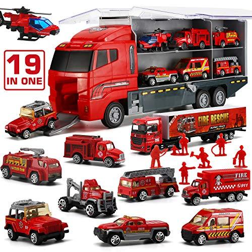 LYKJ-karber 19 in 1 Feuerwehrauto Set, Feuerwehr Spielzeug Fire Trucks im Lastwagen mit 9 Figuren für Kinder ab 3 Jahren