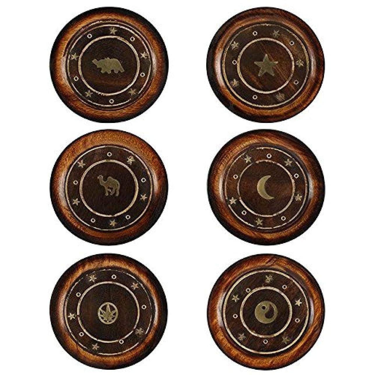 消化器パスポート小道Mangowood Round Plate Incense Holder with Brass Inlay
