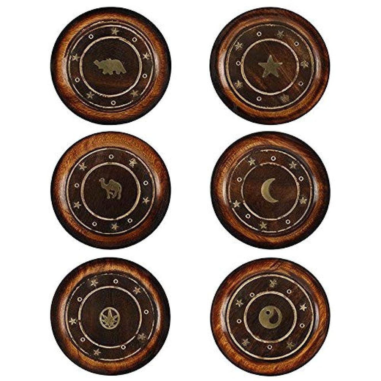 プライバシー管理偉業Mangowood Round Plate Incense Holder with Brass Inlay