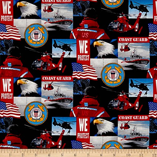 Sykel Enterprises Military Coast Guard Allover Multi Fabric by the Yard