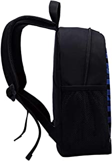 Dark Blue Canvas Backpack,Curvy Carbon Fiber Texture Image Abstract Industrial Modern Grid for Playgrounds,One_Size