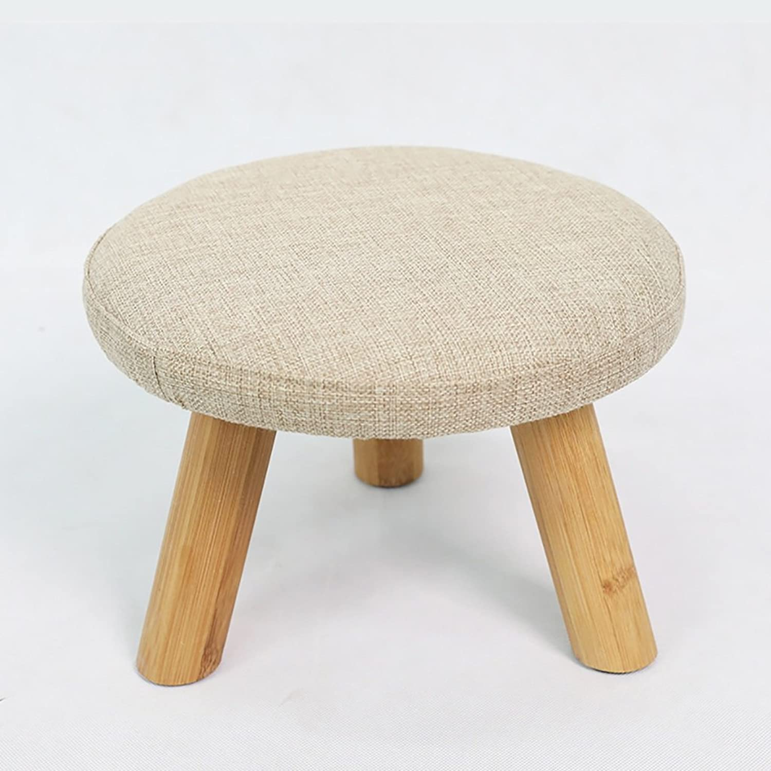Fabric Sofa Stool shoes Bench Fashion Round Stool Creative Small Wooden Bench Bamboo Stool,Removable Cover (color   Brown)