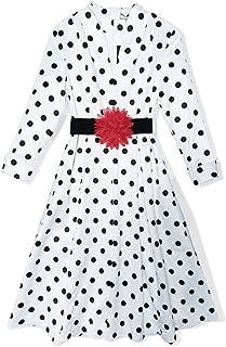 WYYY ドレス 夏の季節 ショートスカート ロングスリーブ V襟 印刷 ドット ホワイト セレブリティ シフォンドレス イブニングドレス (サイズ さいず : S s)
