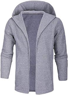 Howely Men with Hood Solid Solid Outwear Coat Baggy Open Front Coat Jacket