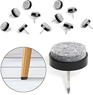 40pcs Furniture Felt Pad Round Heavy Duty Nail-on Slider Glide Pad Floor Protector for Wooden Furniture Chair Tables Leg F...