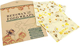 Beeswax Reusable Food Wraps Eco Friendly Sustainable Washable Food Storage Plastic Alternative Sandwich Cheese Wrap 3 packs S M L Bee Print