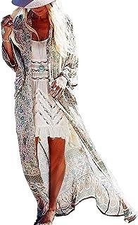 Orshoy Damen Morgenmantel Kimono Cardigan Bademantel Lange Robe Nachtwäsche Pyjama Strand Pareo Bademode Strand Badeanzug Strandponcho Lange Bluse Schlafmantel