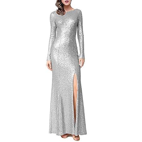 c57d970866a Stillluxury Sequin Evening Dresses Long Sleeves Front Split Wedding Party  Mermaid Gown E122