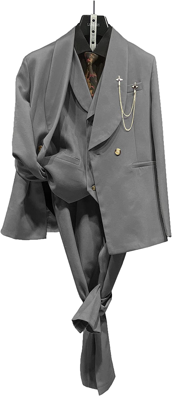 ANSHUHA Men Suits Casual 3 Piece Single Breasted Formal Blazer Tuxedos Blazer Vest & Pants Business Wedding Prom Suits