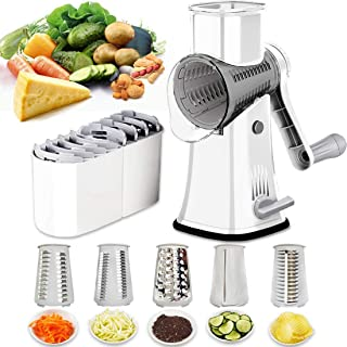 Rotary Cheese Grater Shredder 5-in-1 Tumbling Box Mandoline Vegetable Julienne Slicer Waffle Cutter Nut Chopper with Handl...