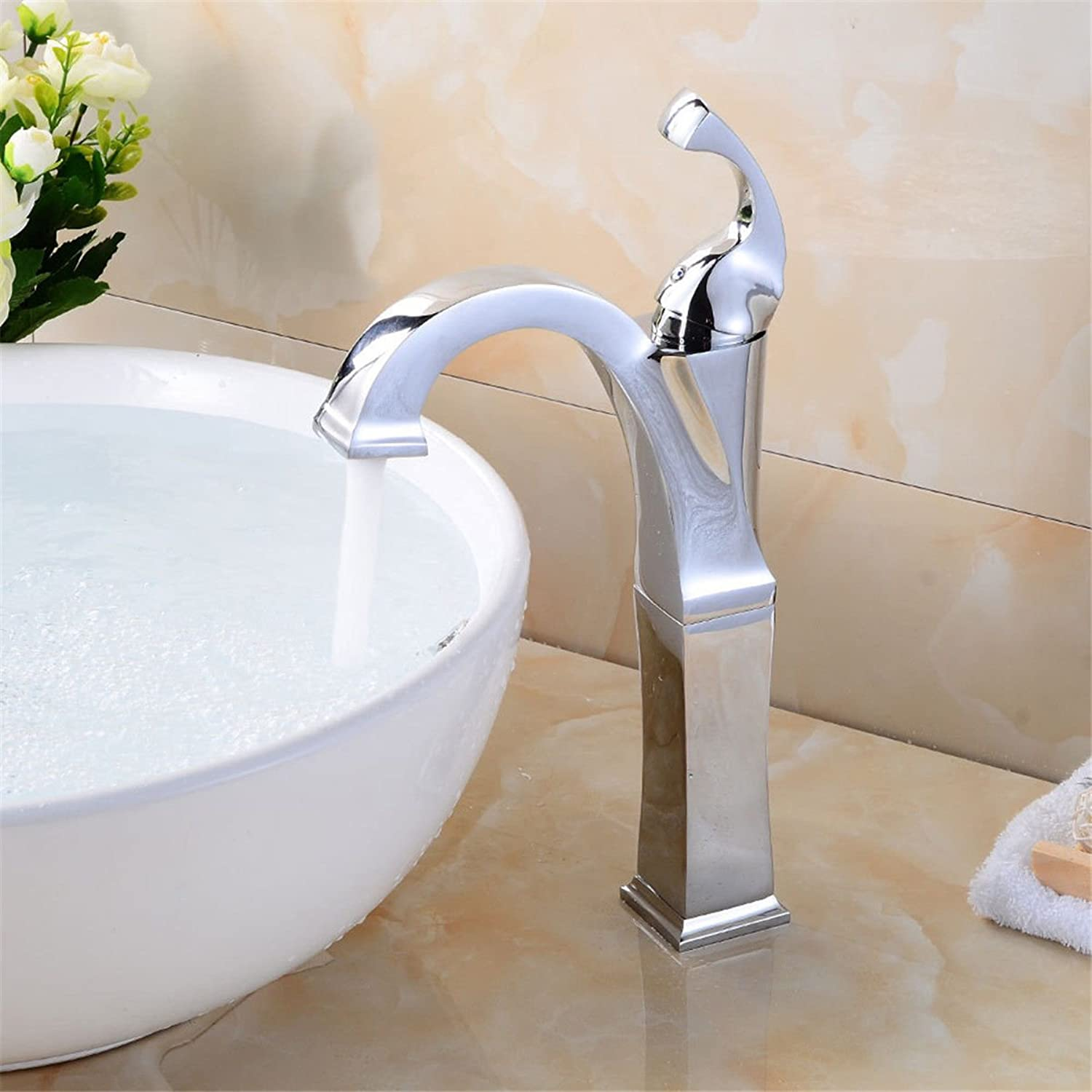 AQMMi Basin Sink Tap Bathroom Bar Faucet Chrome Plated Hot and Cold Water Bathroom Basin Sink Faucet