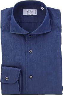 (フェアファクス) FAIRFAX ネイビー系 無地 デニム風 ホリゾンタルワイドカラー 綿100% イタリア アルビアーテ生地使用 (細身) ドレスシャツ w1826