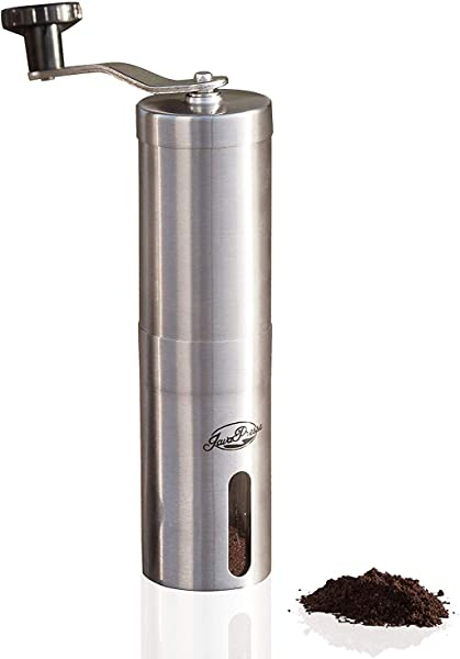 JavaPresse Manual Coffee Grinder With Adjustable Setting Conical Burr Mill Brushed Stainless Steel Burr Coffee Grinder For Aeropress Drip Coffee Espresso French Press Turkish Brew