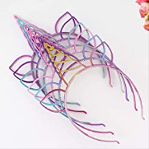 Diadema WYHH con diseño de unicornio con purpurina, diadema de plástico brillante con orejas de gato, banda para el pelo para niñas, tamaño libre de bisel, banda de pelo de varios colores