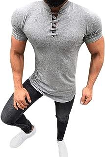 Hstore Men's Short Sleeve T-Shirt, Fashion Drawstring Stand Collar Summer Comfort Blouse Top