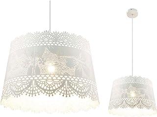 Lámpara de techo de estilo rústico, lámpara de techo colgante, lámpara de comedor de metal blanco (patrón de hojas, lámpara de techo, lámpara de cocina, 35 cm, altura 150 cm)