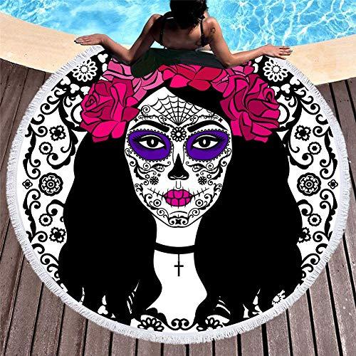 familiar hombre la Playa, Picnic, Camping, Al Aire libre Gigante y Ultra Absorbente,Europa y Estados Unidos impresión digital 3D cráneo toalla de playa microfibra borla redonda 150 * 150,5