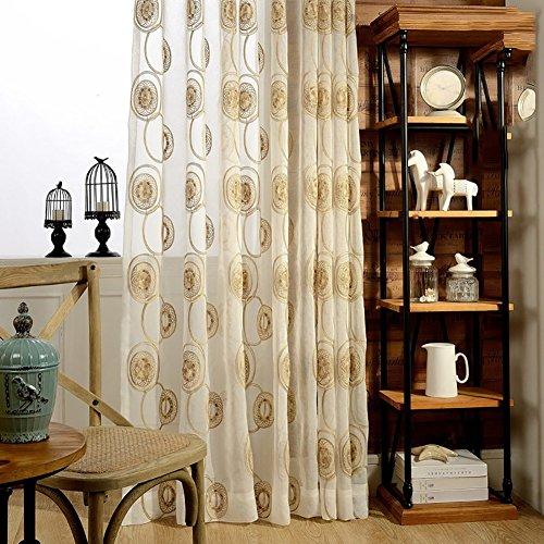 Rideaux et drapés transparents avec cercles blancs et jaunes brodés pour fenêtres - Produit fini - Œillets pour le salon - Blanc - 300 x 270 cm